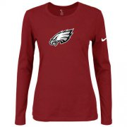 Wholesale Cheap Women's Nike Philadelphia Eagles Of The City Long Sleeve Tri-Blend NFL T-Shirt Red