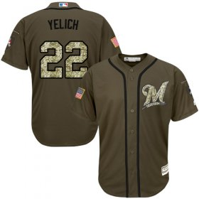 Wholesale Cheap Brewers #22 Christian Yelich Green Salute to Service Stitched MLB Jersey