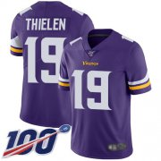 Wholesale Cheap Nike Vikings #19 Adam Thielen Purple Team Color Men's Stitched NFL 100th Season Vapor Limited Jersey