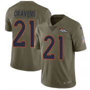 Wholesale Cheap Nike Broncos #21 Su'a Cravens Olive Men's Stitched NFL Limited 2017 Salute To Service Jersey