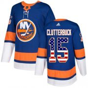 Wholesale Cheap Adidas Islanders #15 Cal Clutterbuck Royal Blue Home Authentic USA Flag Stitched Youth NHL Jersey
