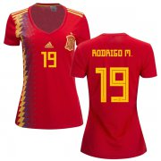 Wholesale Cheap Women's Spain #19 Rodrigo M. Red Home Soccer Country Jersey