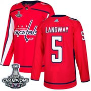 Wholesale Cheap Adidas Capitals #5 Rod Langway Red Home Authentic Stanley Cup Final Champions Stitched NHL Jersey