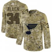 Wholesale Cheap Adidas Blues #34 Jake Allen Camo Authentic Stitched NHL Jersey