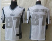 Wholesale Nike Patriots #87 Rob Gronkowski White Men's Stitched NFL Limited Platinum Jersey