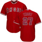 Wholesale Cheap Angels of Anaheim #27 Mike Trout Red Team Logo Fashion Stitched MLB Jersey