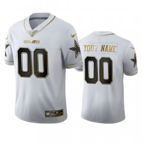 Wholesale Cheap Dallas Cowboys Custom Men\'s Nike White Golden Edition Vapor Limited NFL 100 Jersey