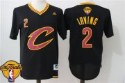Wholesale Cheap Men's Cleveland Cavaliers Kyrie Irving #2 2017 The NBA Finals Patch New Black Short-Sleeved Jersey