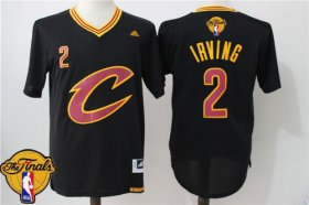 Wholesale Cheap Men\'s Cleveland Cavaliers Kyrie Irving #2 2017 The NBA Finals Patch New Black Short-Sleeved Jersey