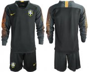 Wholesale Cheap Brazil Blank Black Goalkeeper Long Sleeves Soccer Country Jersey