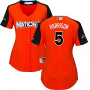 Wholesale Cheap Pirates #5 Josh Harrison Orange 2017 All-Star National League Women's Stitched MLB Jersey
