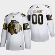 Wholesale Cheap Chicago Blackhawks Custom Men's Adidas White Golden Edition Limited Stitched NHL Jersey