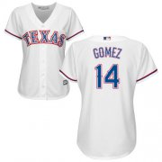 Wholesale Cheap Rangers #14 Carlos Gomez White Home Women's Stitched MLB Jersey
