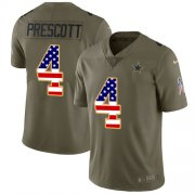 Wholesale Cheap Nike Cowboys #4 Dak Prescott Olive/USA Flag Youth Stitched NFL Limited 2017 Salute to Service Jersey