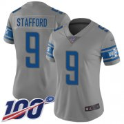 Wholesale Cheap Nike Lions #9 Matthew Stafford Gray Women's Stitched NFL Limited Inverted Legend 100th Season Jersey