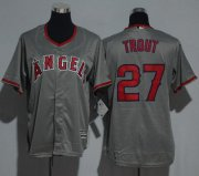 Wholesale Angels #27 Mike Trout Grey Cool Base Stitched Youth Baseball Jersey