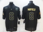 Wholesale Cheap Men's Cleveland Browns #6 Baker Mayfield Black 2020 Salute To Service Stitched NFL Nike Limited Jersey