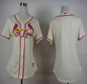 Wholesale Cheap Cardinals Blank Cream Alternate Women's Stitched MLB Jersey
