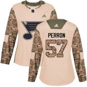 Wholesale Cheap Adidas Blues #57 David Perron Camo Authentic 2017 Veterans Day Women's Stitched NHL Jersey