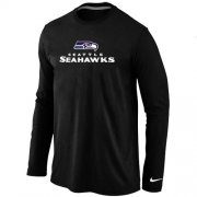 Wholesale Cheap Nike Seattle Seahawks Authentic Logo Long Sleeve T-Shirt Black