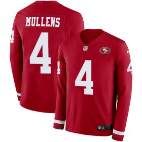 Wholesale Cheap Nike 49ers #4 Nick Mullens Red Team Color Youth Stitched NFL Limited Therma Long Sleeve Jersey