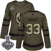 Wholesale Cheap Adidas Golden Knights #33 Maxime Lagace Green Salute to Service 2018 Stanley Cup Final Women's Stitched NHL Jersey