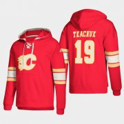 Wholesale Cheap Calgary Flames #19 Matthew Tkachuk Red adidas Lace-Up Pullover Hoodie