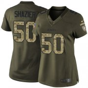 Wholesale Cheap Nike Steelers #50 Ryan Shazier Green Women's Stitched NFL Limited 2015 Salute to Service Jersey