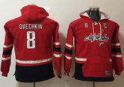 Wholesale Cheap Capitals #8 Alex Ovechkin Red Youth Name & Number Pullover NHL Hoodie