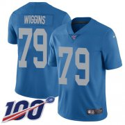 Wholesale Cheap Nike Lions #79 Kenny Wiggins Blue Throwback Youth Stitched NFL 100th Season Vapor Untouchable Limited Jersey