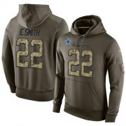 Wholesale Cheap NFL Men's Nike Dallas Cowboys #22 Emmitt Smith Stitched Green Olive Salute To Service KO Performance Hoodie