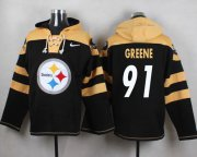 Wholesale Cheap Nike Steelers #91 Kevin Greene Black Player Pullover NFL Hoodie