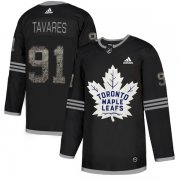 Wholesale Cheap Adidas Maple Leafs #91 John Tavares Black Authentic Classic Stitched NHL Jersey