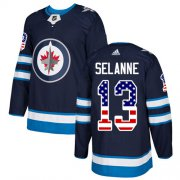 Wholesale Cheap Adidas Jets #13 Teemu Selanne Navy Blue Home Authentic USA Flag Stitched Youth NHL Jersey