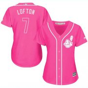 Wholesale Cheap Indians #7 Kenny Lofton Pink Fashion Women's Stitched MLB Jersey