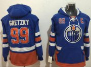 Wholesale Cheap Oilers #99 Wayne Gretzky Light Blue Name & Number Pullover NHL Hoodie