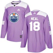 Wholesale Cheap Adidas Oilers #18 James Neal Purple Authentic Fights Cancer Stitched NHL Jersey