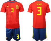 Wholesale Cheap Spain #3 Pique Home Soccer Country Jersey