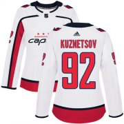Wholesale Cheap Adidas Capitals #92 Evgeny Kuznetsov White Road Authentic Women's Stitched NHL Jersey