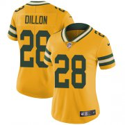 Wholesale Cheap Nike Packers #28 AJ Dillon Yellow Women's Stitched NFL Limited Rush Jersey