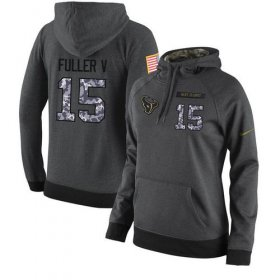 Wholesale Cheap NFL Women\'s Nike Houston Texans #15 Will Fuller V Stitched Black Anthracite Salute to Service Player Performance Hoodie