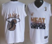 Wholesale Cheap Miami Heat #6 LeBron James 2013 NBA Champions White Fashion Jersey