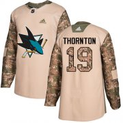 Wholesale Cheap Adidas Sharks #19 Joe Thornton Camo Authentic 2017 Veterans Day Stitched Youth NHL Jersey