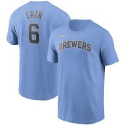 Wholesale Cheap Milwaukee Brewers #6 Lorenzo Cain Nike Name & Number T-Shirt Light Blue