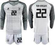 Wholesale Cheap Germany #22 Ter Stegen Grey Goalkeeper Long Sleeves Soccer Country Jersey