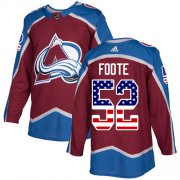 Wholesale Cheap Adidas Avalanche #52 Adam Foote Burgundy Home Authentic USA Flag Stitched NHL Jersey