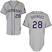 Wholesale Cheap Rockies #28 Nolan Arenado Grey Cool Base Stitched Youth MLB Jersey