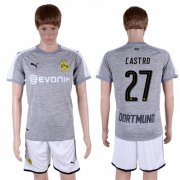 Wholesale Cheap Dortmund #27 Castro Grey Soccer Club Jersey