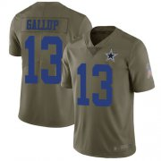 Wholesale Cheap Nike Cowboys #13 Michael Gallup Olive Men's Stitched NFL Limited 2017 Salute To Service Jersey