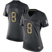 Wholesale Cheap Nike Ravens #8 Lamar Jackson Black Women's Stitched NFL Limited 2016 Salute to Service Jersey